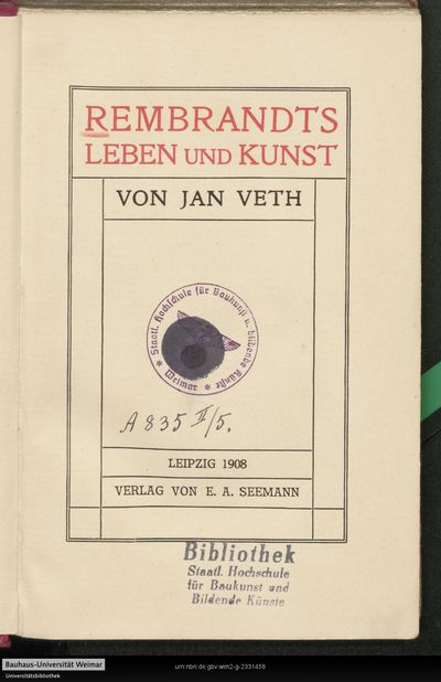 Image from object titled Rembrandts Leben und Kunst