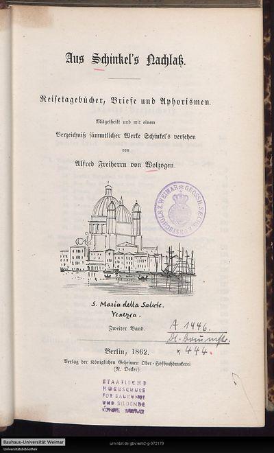 Image from object titled Aus Schinkel's Nachlaß: Reisetagebücher, Briefe und Aphorismen; Bd. 2