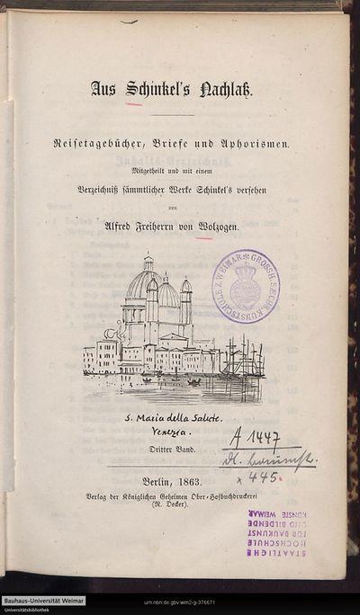 Image from object titled Aus Schinkel's Nachlaß: Reisetagebücher, Briefe und Aphorismen; Bd. 3