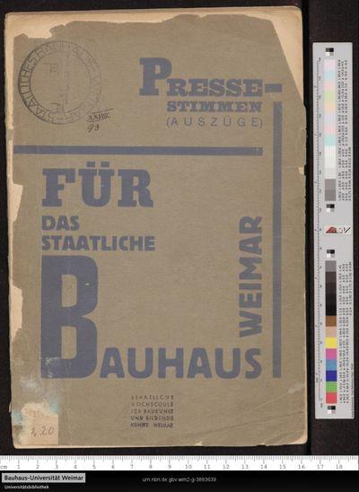 Image from object titled Pressestimmen (Auszüge) für das Staatliche Bauhaus Weimar: [1920 - 1924]