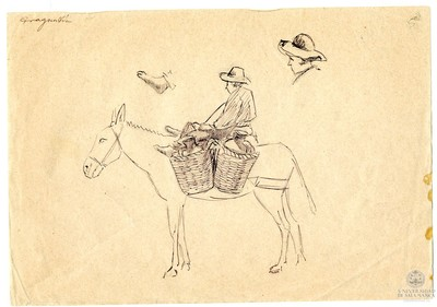 Image from object titled Traguntía. [Aguador sobre una mula]
