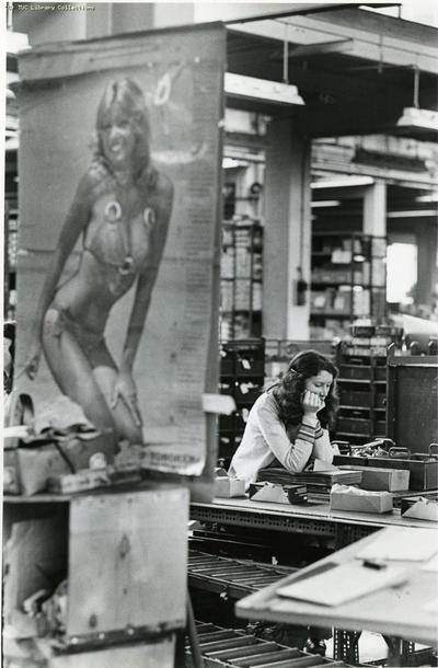 Image from object titled Woman factory worker, c 1982