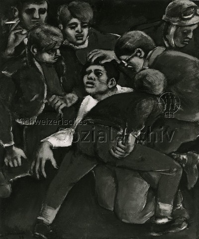 Bild von Mario Comensoli ; ein Ausländern wird von Männern heller Hautfarbe verprügelt