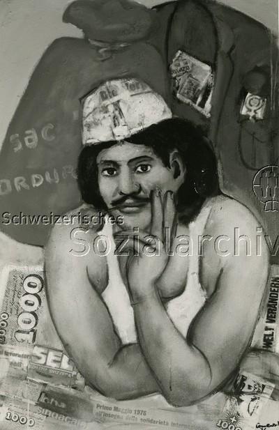 Bild von Mario Comensoli ; Mann mit Schnurrbart und einer Rose zwischen den Lippen, Plakat mit dem Datum 1. Mai 1976