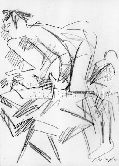 """Image from object titled Umschlagentwurf von Comensoli für: """"...stets die Nase vorn 150 Jahre Holzarbeiter Zürich 1839-1989"""" - Zeichnung von Mario Comensoli"""