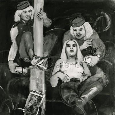 Bild von Mario Comensoli ; drei Personen (im Zirkus?)