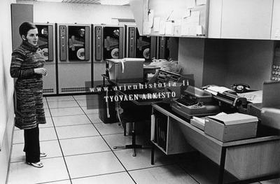 Ilmatieteen laitoksen atk-osasto 1970-luvun alussa.