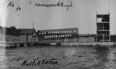 Aamuvirkkuja uimareita Mustikkamaalla rannalla. Rantarakennuksessa hyppytorni.