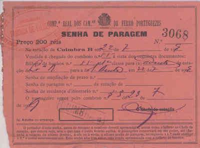 Image from object titled Bilhete de comboio da Companhia Real dos Caminhos de Ferro Portugueses