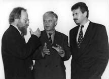 Gruppenaufnahme mit stellvertretender SPD-Vorsitzender Wolfgang Thierse und Ministerpräsident Brandenburg Manfred Stolpe und SPD-Bundesgeschäftsführer Karlheinz Blessing