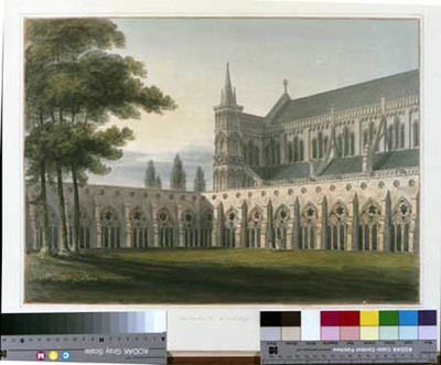 signed watercolour, Salisbury cathedral, Cloisters looking NW, 1803, by John Buckler