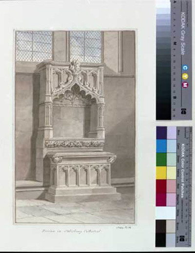 signed watercolour, Salisbury cathedral, piscina in NE transept, 1809, by John Buckler