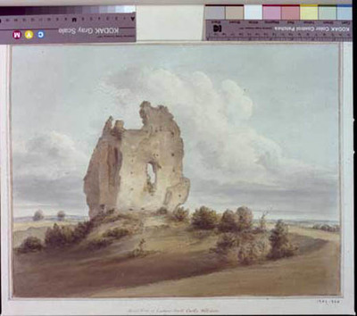 signed watercolour of castle ruins, Ludgershall, from E, 1805, by John Buckler