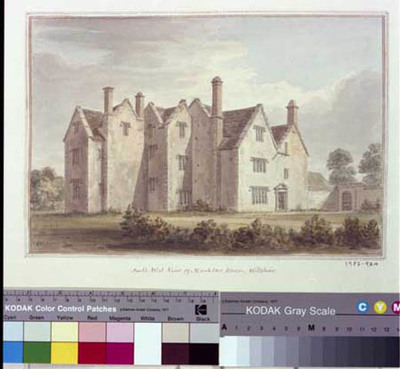 watercolour of Monkton House, from SW, Broughton Gifford, Wilts, 1808(?), by John Buckler