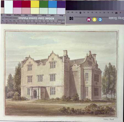 signed watercolour, Wick House, Downton, from SE, 1808, by John Buckler
