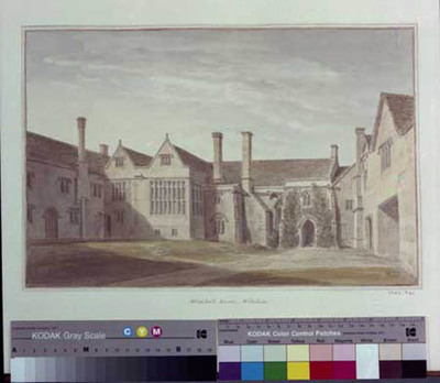 signed watercolour, South Wraxall Manor House, Courtyard looking NE, 1808, by John Buckler