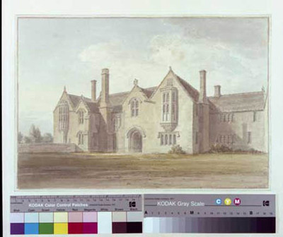 Image from object titled signed watercolour of Great Chalfield Manor, from NW, Atworth, Wilts, 1808, by John Buckler