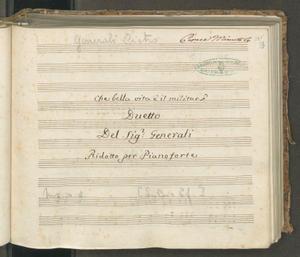 Image from object titled Che bella vita è il militar   Duetto   Del Sig.r Generali   Ridotto per Pianoforte