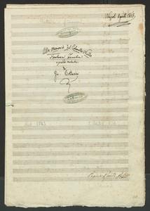 Image from object titled Alla memoria del Colon[n]ello Nullo | Fantasia Funebre | a grande Orchestra | di | Gio. Bottesini