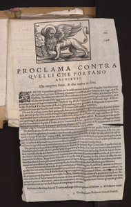 Image from object titled Proclama contra quelli che portano archibusi che tengono braui, che vanno in setta.