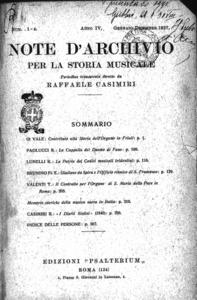 Image from object titled Note d'archivio per la storia musicale : periodico trimestrale / diretto da Raffaele Casimiri (1927:1-4)