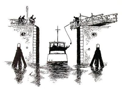 """Dit is een boekillustratie van Peter Spier in het boek van Piet Bakker """"Logboek van de Gratias"""". Hij staat afgedrukt op de pagina 18 van het boek. Voorstellende: De Gratias vaart door de geopende brug. Aan weerszijden..."""