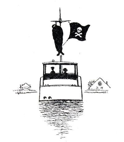 """Dit is een boekillustratie van Peter Spier in het boek van Piet Bakker """"Logboek van de Gratias"""". Hij staat afgedrukt op de pagina 38 van het boek. Voorstellende een varend pleziervaartuigje met een doodskop als vlag. Links..."""