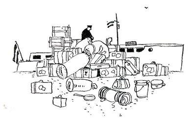 """Dit is een boekillustratie van Peter Spier in het boek van Piet Bakker """"Logboek van de Gratias"""". Hij staat afgedrukt op de pagina 50 van het boek. Voorstellende: Allerlei huisraad, plunje zakken, koffers e.d. worden van de..."""