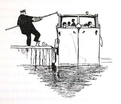 """Dit is een boekillustratie van Peter Spier in het boek van Piet Bakker """"Logboek van de Gratias"""". Hij staat afgedrukt op de pagina 71 van het boek. Voorstellende: de kapiteitn meert de Gracias aan. Geen signatuur."""