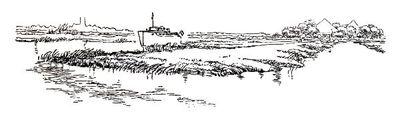 """Dit is een boekillustratie van Peter Spier in het boek van Piet Bakker """"Logboek van de Gratias"""". Hij staat afgedrukt op de pagina 89 van het boek. Voorstellende: de Gracias vertrekt uit Uithoorn. Geen signatuur."""