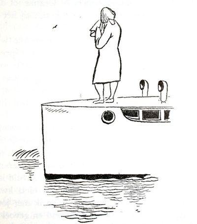 """Dit is een boekillustratie van Peter Spier in het boek van Piet Bakker """"Logboek van de Gratias"""". Hij staat afgedrukt op de pagina 113 van het boek. Voorstellende: een huilende vrouw op het voorsteven van de Gracias. Geen..."""