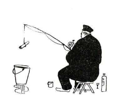 """Dit is een boekillustratie van Peter Spier in het boek van Piet Bakker """"Logboek van de Gratias"""". Hij staat afgedrukt op de pagina 118 van het boek. Voorstellende: een op brasem vissende man zittend op een krukje. Geen..."""