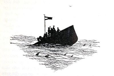 """Dit is een boekillustratie van Peter Spier in het boek van Piet Bakker """"Logboek van de Gratias"""". Hij staat afgedrukt op de pagina 137 van het boek. Het stelt een zinkend schip voor. Geen signatuur."""