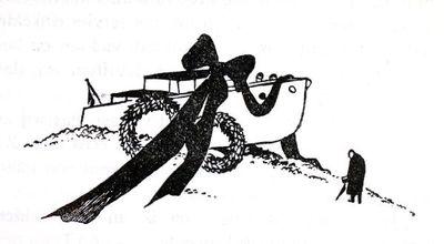 """Dit is een boekillustratie van Peter Spier in het boek van Piet Bakker """"Logboek van de Gratias"""". Hij staat afgedrukt op de pagina 144 van het boek. Het is een gestrande Gracias met twee rouwkransen en een grote zwarte..."""