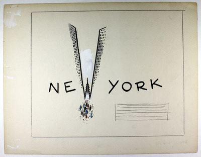 Image from object titled Dit is een originele geaquarelleerde schets nr. 1 van Jo Spier.; Jo Spier heeft tevens aangegeven waar ev. tekst moet komen te staan.; De letter W van New York is getekend als een wolkenkrabber.