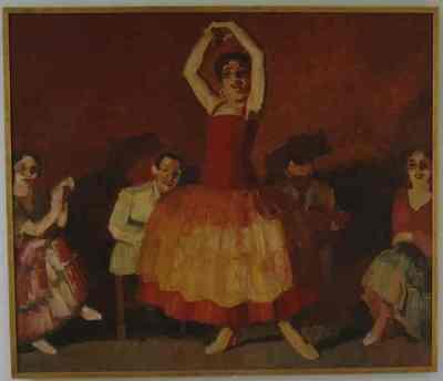 Een schilderij uit circa 1924 van de Spaanse danseres Sotomayor met vier muzikanten op de achtergrond. Nuances van de kleur rood overheersen en deze worden geconcatreerd met een helder geelwit.