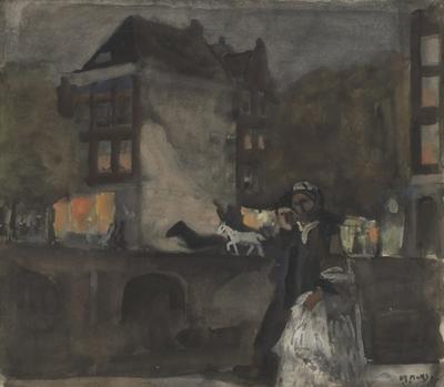 "Een aquarel getiteld: ""Avond in Amsterdam""."