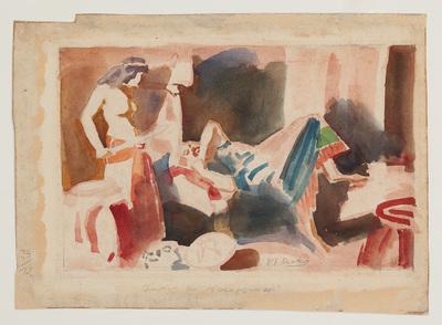 Een aquarel getiteld 'Judith en Holofernes'.