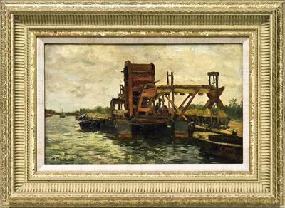 Zicht op het Kanaal in noordelijke richting. Aan de rechteroever een baggermolen en boten. Op de oever wagons op rails. (Het Kanaal werd in 1909 verbreed). Links vaart een schip op de sluis toe. Gesign. l.o.