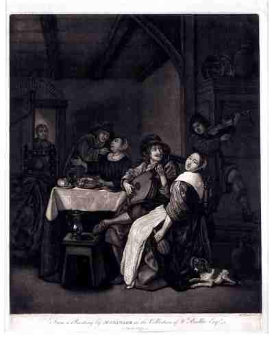 Zwartekunstprent. 1774. De vrouw in de deur kijkt bedenkelijk toe terwijl twee mannen zich in interieur met twee prostituees bezig houden. Zij zitten aan tafel met voedsel en wijn. De man op de voorgrond bespeelt een luit....