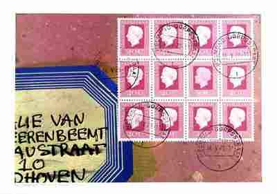 Image from object titled Zeefdruk. Nr.56/250. 1979. Detail rode envelop (zoals door Har Sanders in gebruik) met ouderwets etiket met de naam Nathalie van den Erenbeemd, Eindhoven. Postzegels gestempeld Dorpstraat Helmond....