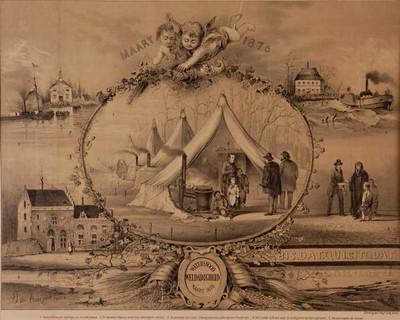 """Image from object titled Lithografie, voorstellende vijf taferelen van de hulpverlening bij de watersnood in 1876 in Herwijnen, Brakel, Poederoyen; met opschriften """"Maart 1876"""" en """"Watersnood Weldadigheid Maart 1876""""."""