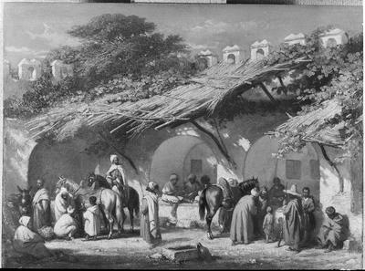 Schilderij met als voorstelling een karavan serai, Noord-Afrika.