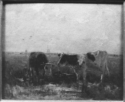 Schilderij met als voorstelling een weiland met twee koeien.
