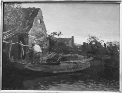 Schilderij met als voorstelling een waterlandschap.