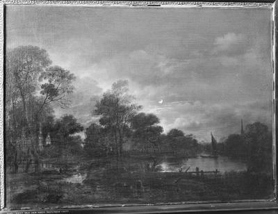 Schilderij getiteld 'Maanlandschap'.