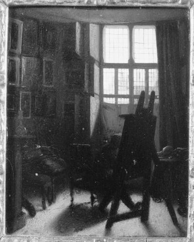 Schilderij met als voorstelling de schilder Jacobus Ludovicus Cornet in zijn atelier.