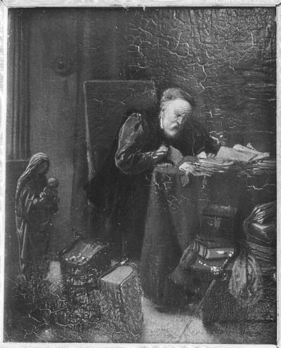 Schilderij met als voorstelling een antiquair in zijn werkkamer.