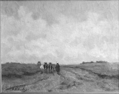 Schilderij met als voorstelling een landweg met koeien.