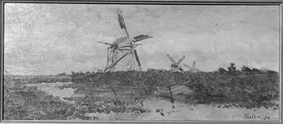 Onvoltooid schilderij vorostellend een waterlandschap met molens.